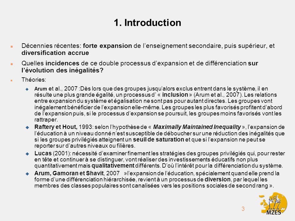 3 1. Introduction n Décennies récentes: forte expansion de lenseignement secondaire, puis supérieur, et diversification accrue n Quelles incidences de