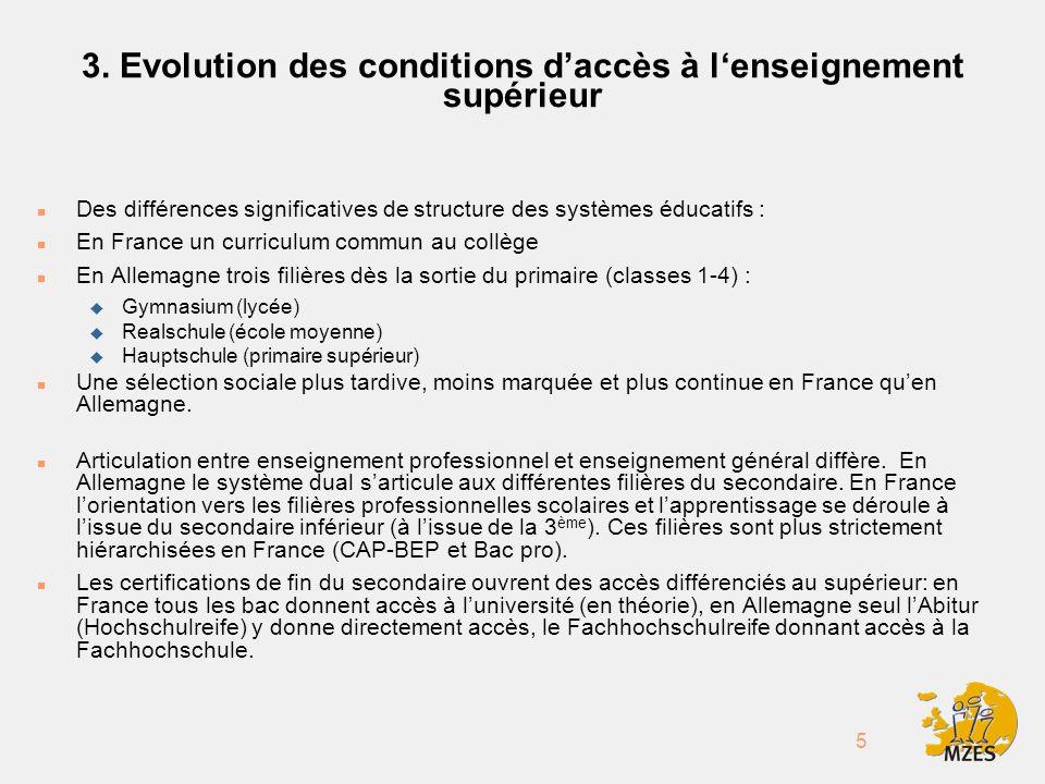 5 3. Evolution des conditions daccès à lenseignement supérieur n Des différences significatives de structure des systèmes éducatifs : n En France un c