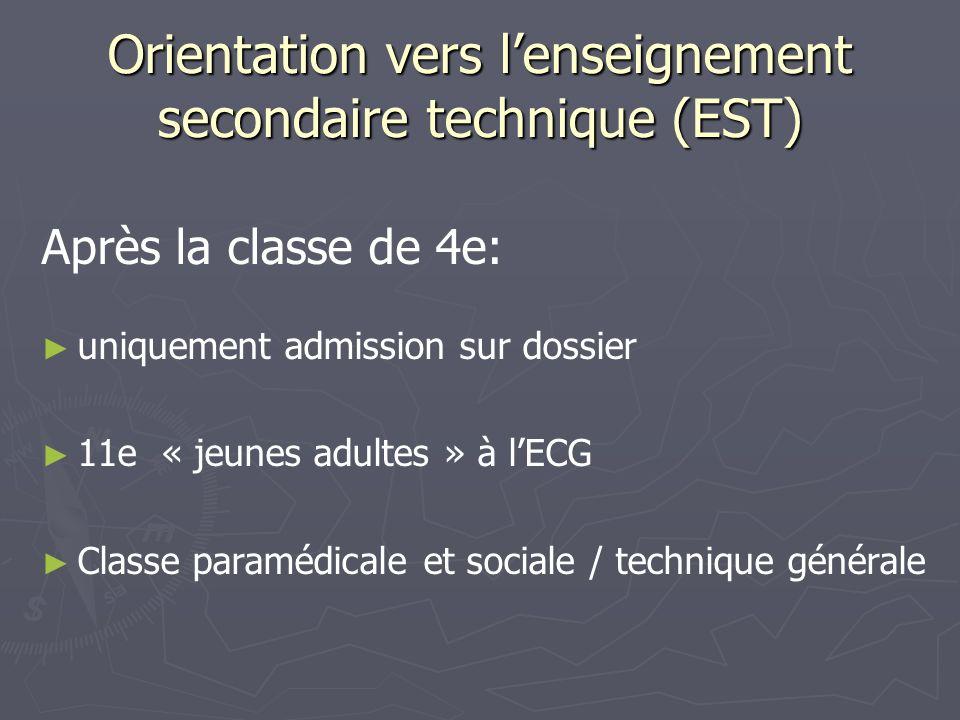 Orientation vers lenseignement secondaire technique (EST) Après la classe de 4e: uniquement admission sur dossier 11e « jeunes adultes » à lECG Classe paramédicale et sociale / technique générale