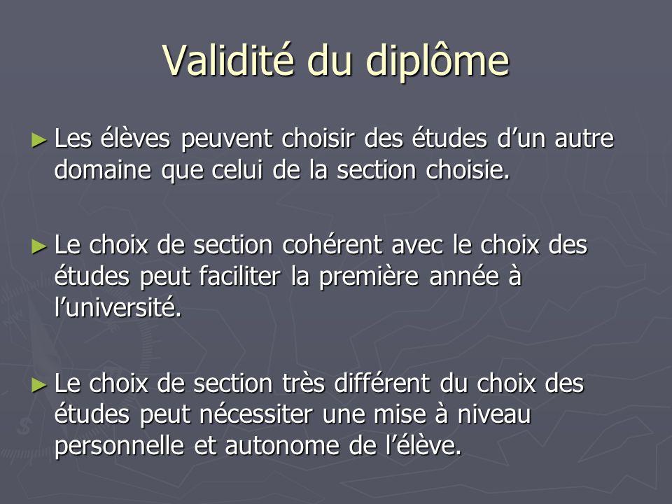 Validité du diplôme Les élèves peuvent choisir des études dun autre domaine que celui de la section choisie.