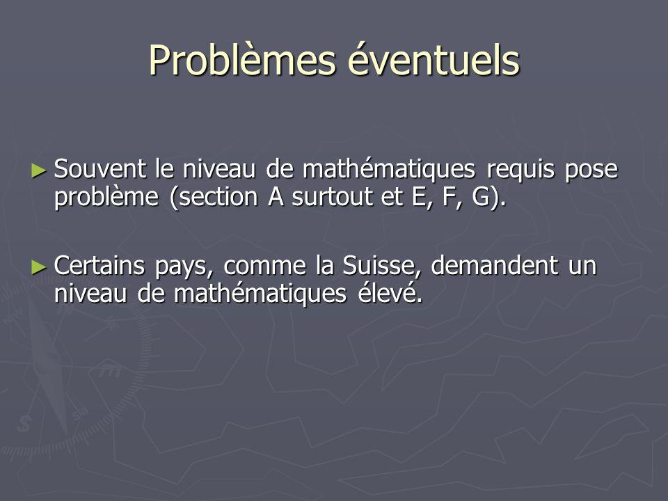 Problèmes éventuels Souvent le niveau de mathématiques requis pose problème (section A surtout et E, F, G).