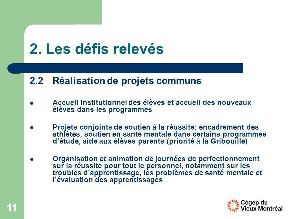 11 2. Les défis relevés 2.2Réalisation de projets communs Accueil institutionnel des élèves et accueil des nouveaux élèves dans les programmes Projets