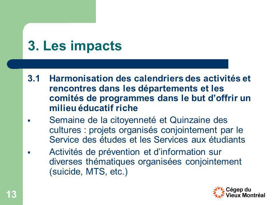 13 3. Les impacts 3.1 Harmonisation des calendriers des activités et rencontres dans les départements et les comités de programmes dans le but doffrir