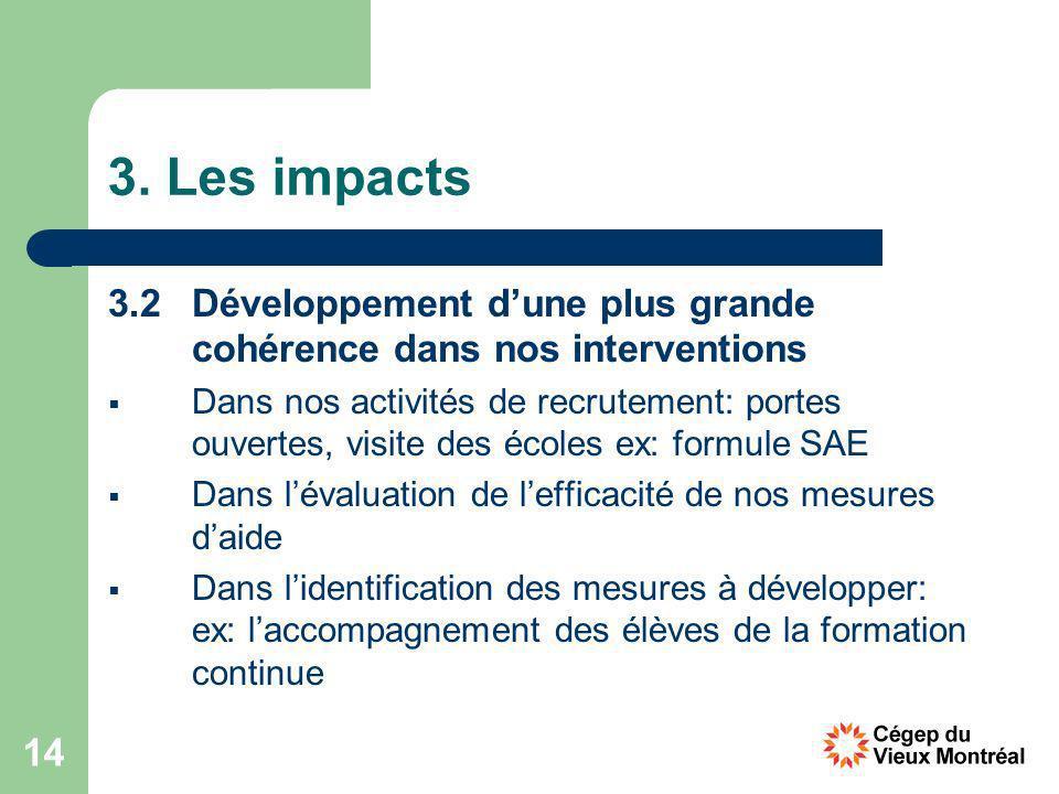 14 3. Les impacts 3.2 Développement dune plus grande cohérence dans nos interventions Dans nos activités de recrutement: portes ouvertes, visite des é