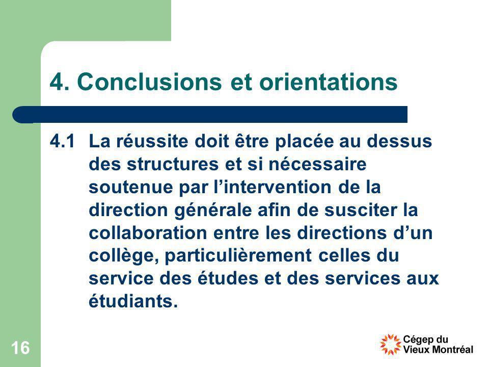 16 4. Conclusions et orientations 4.1 La réussite doit être placée au dessus des structures et si nécessaire soutenue par lintervention de la directio