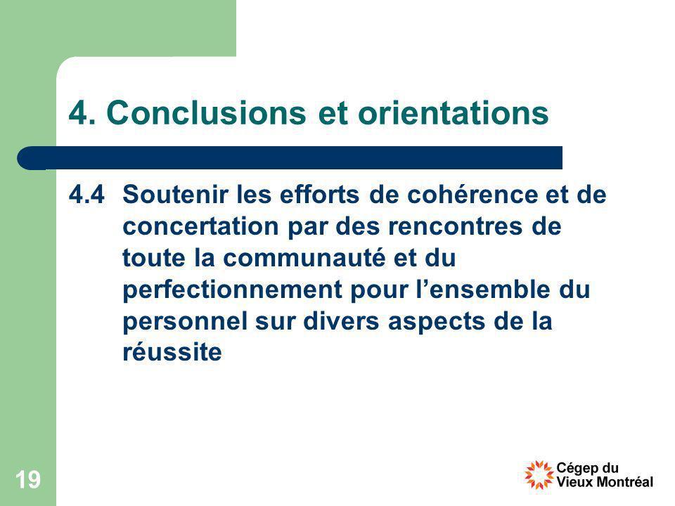 19 4. Conclusions et orientations 4.4 Soutenir les efforts de cohérence et de concertation par des rencontres de toute la communauté et du perfectionn