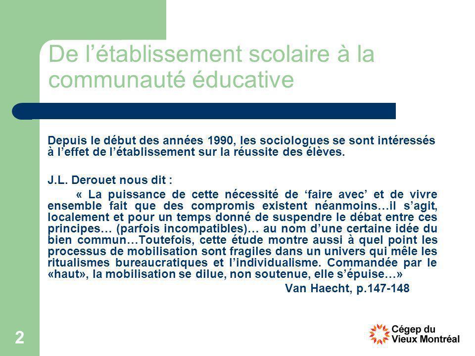 2 De létablissement scolaire à la communauté éducative Depuis le début des années 1990, les sociologues se sont intéressés à leffet de létablissement sur la réussite des élèves.