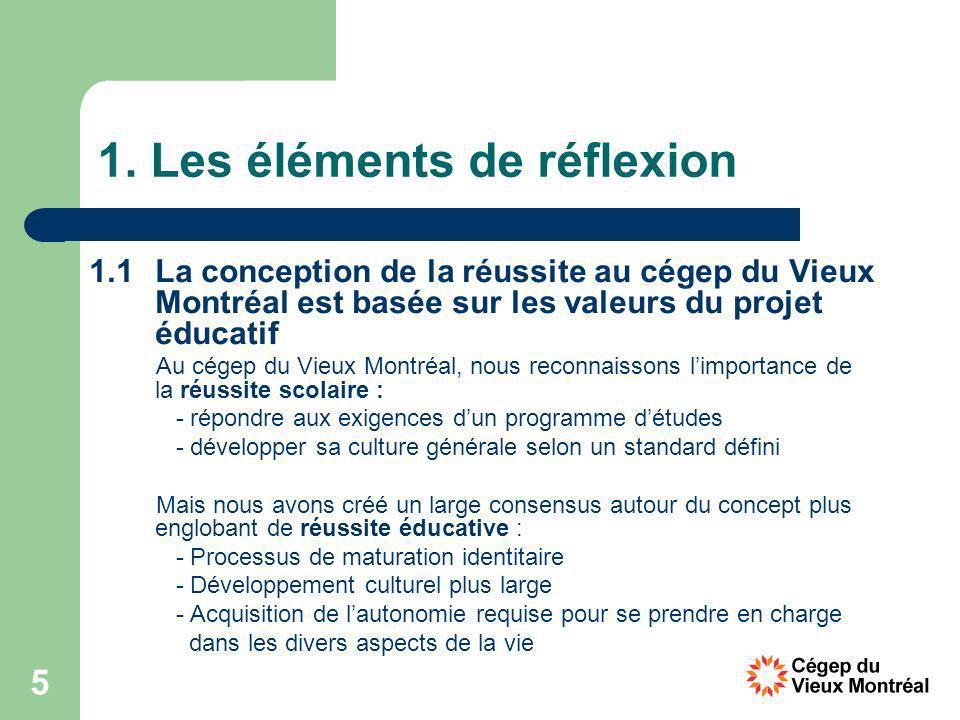 5 1. Les éléments de réflexion 1.1La conception de la réussite au cégep du Vieux Montréal est basée sur les valeurs du projet éducatif Au cégep du Vie