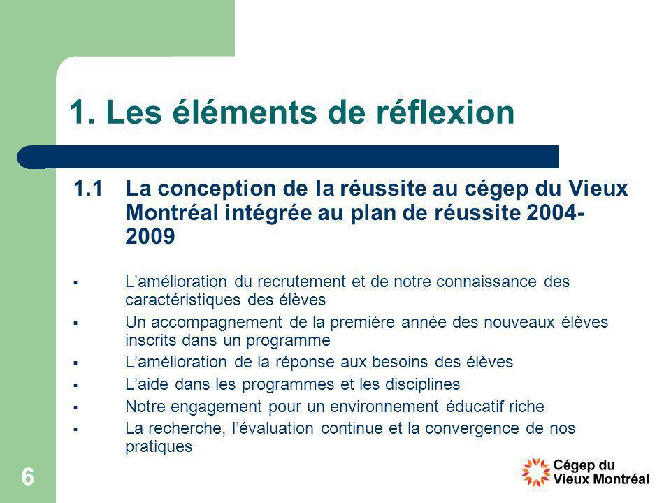 6 1. Les éléments de réflexion 1.1 La conception de la réussite au cégep du Vieux Montréal intégrée au plan de réussite 2004- 2009 Lamélioration du re