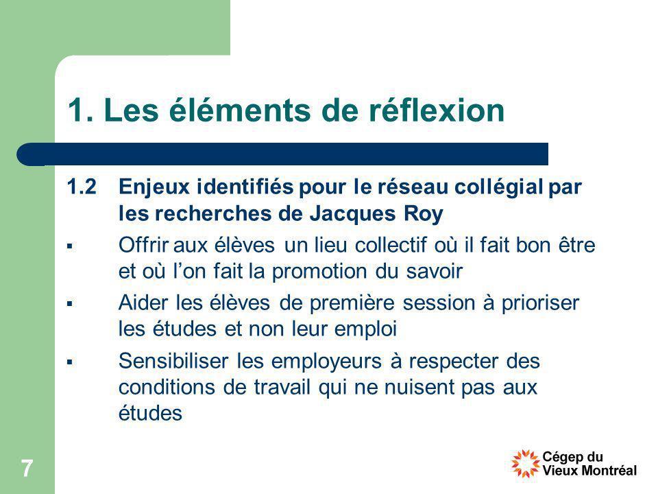 7 1. Les éléments de réflexion 1.2 Enjeux identifiés pour le réseau collégial par les recherches de Jacques Roy Offrir aux élèves un lieu collectif où
