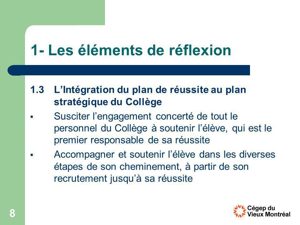8 1- Les éléments de réflexion 1.3 LIntégration du plan de réussite au plan stratégique du Collège Susciter lengagement concerté de tout le personnel