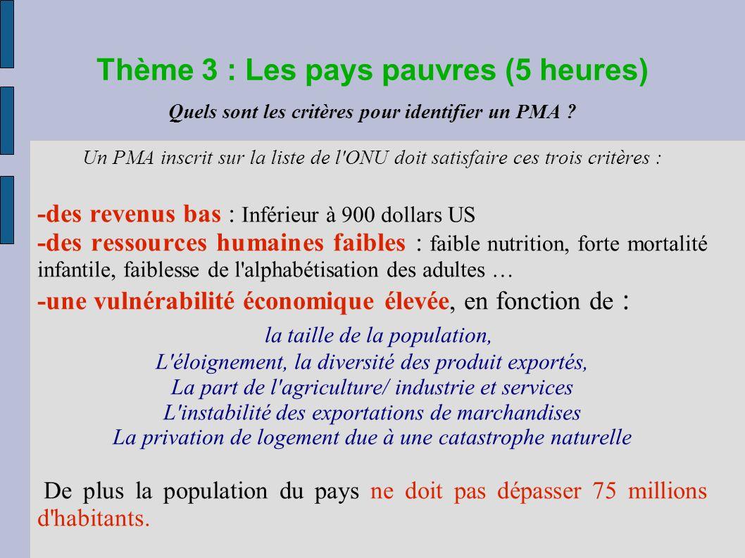 Thème 3 : Les pays pauvres (5 heures) Quels sont les critères pour identifier un PMA .