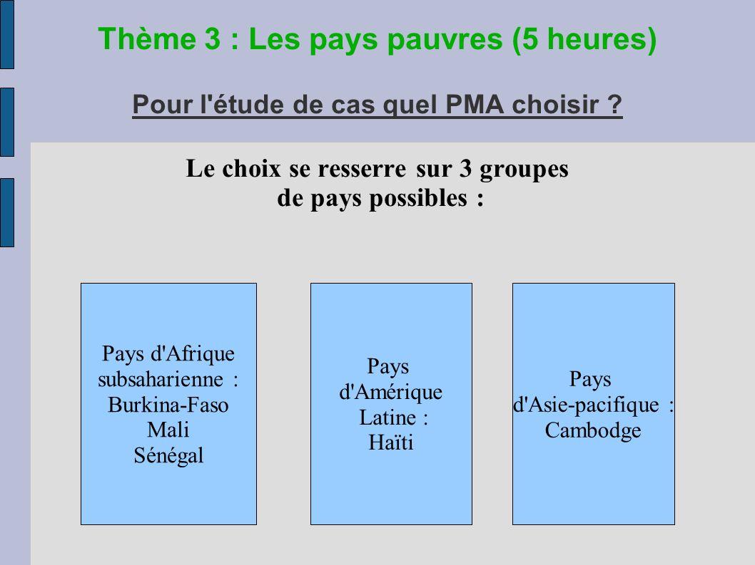 Thème 3 : Les pays pauvres (5 heures) Pour l étude de cas quel PMA choisir .