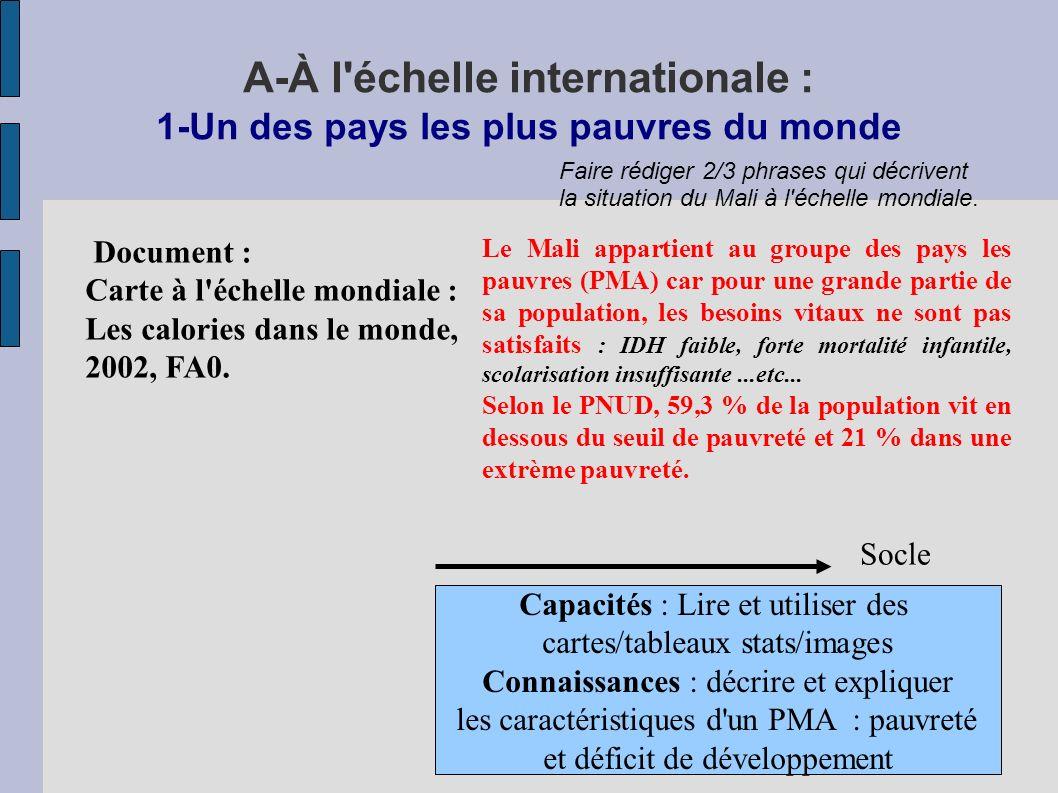 A-À l échelle internationale : 1-Un des pays les plus pauvres du monde Document : Carte à l échelle mondiale : Les calories dans le monde, 2002, FA0.