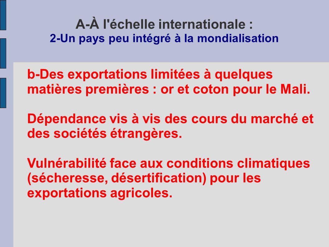 A-À l échelle internationale : 2-Un pays peu intégré à la mondialisation b-Des exportations limitées à quelques matières premières : or et coton pour le Mali.