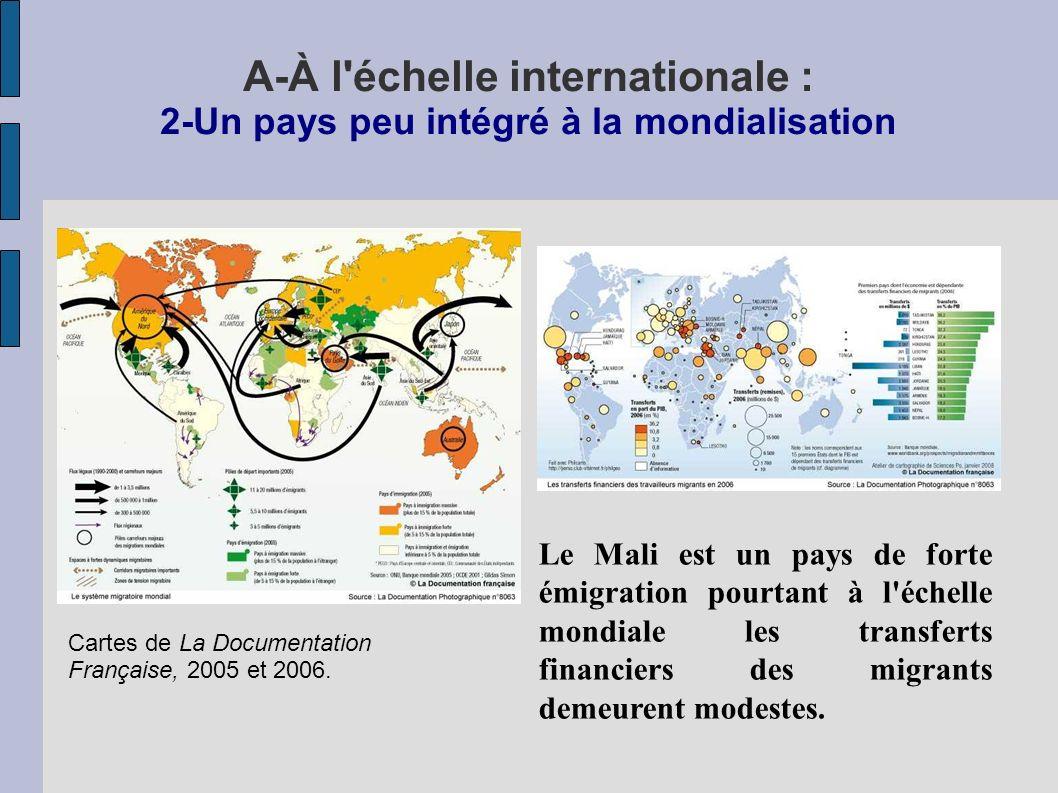 A-À l échelle internationale : 2-Un pays peu intégré à la mondialisation Le Mali est un pays de forte émigration pourtant à l échelle mondiale les transferts financiers des migrants demeurent modestes.