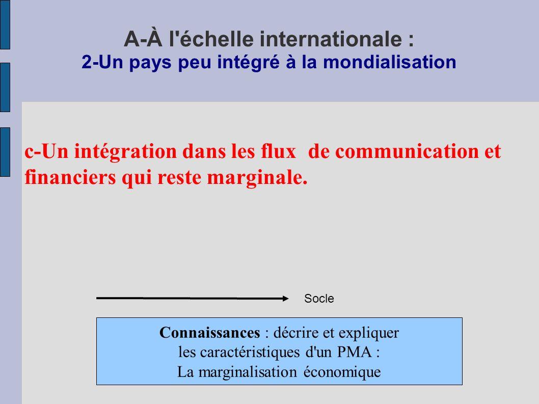 A-À l échelle internationale : 2-Un pays peu intégré à la mondialisation c-Un intégration dans les flux de communication et financiers qui reste marginale.