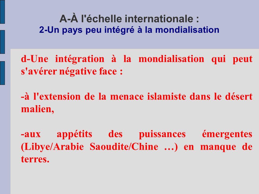 A-À l échelle internationale : 2-Un pays peu intégré à la mondialisation d-Une intégration à la mondialisation qui peut s avérer négative face : -à l extension de la menace islamiste dans le désert malien, -aux appétits des puissances émergentes (Libye/Arabie Saoudite/Chine …) en manque de terres.