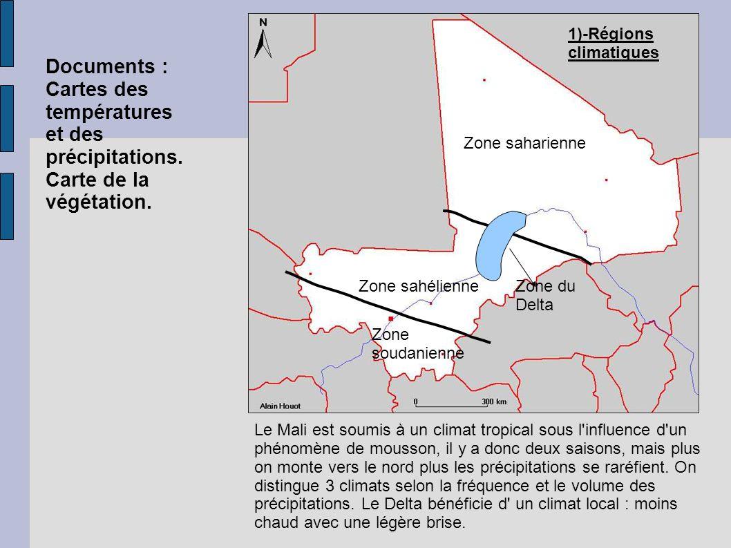 Zone saharienne Zone sahélienne Zone soudanienne Zone du Delta Le Mali est soumis à un climat tropical sous l influence d un phénomène de mousson, il y a donc deux saisons, mais plus on monte vers le nord plus les précipitations se raréfient.