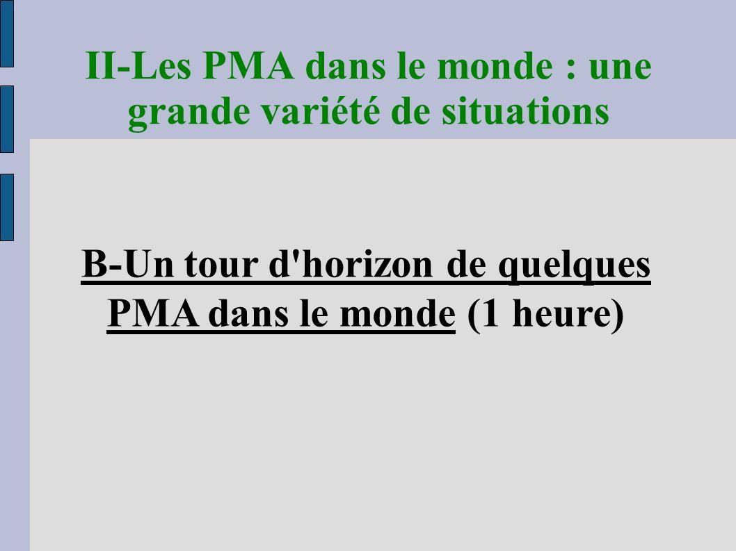 B-Un tour d horizon de quelques PMA dans le monde (1 heure) II-Les PMA dans le monde : une grande variété de situations