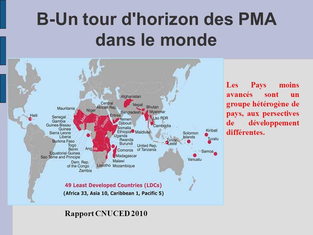 B-Un tour d horizon des PMA dans le monde Rapport CNUCED 2010 Les Pays moins avancés sont un groupe hétérogène de pays, aux persectives de développement différentes.