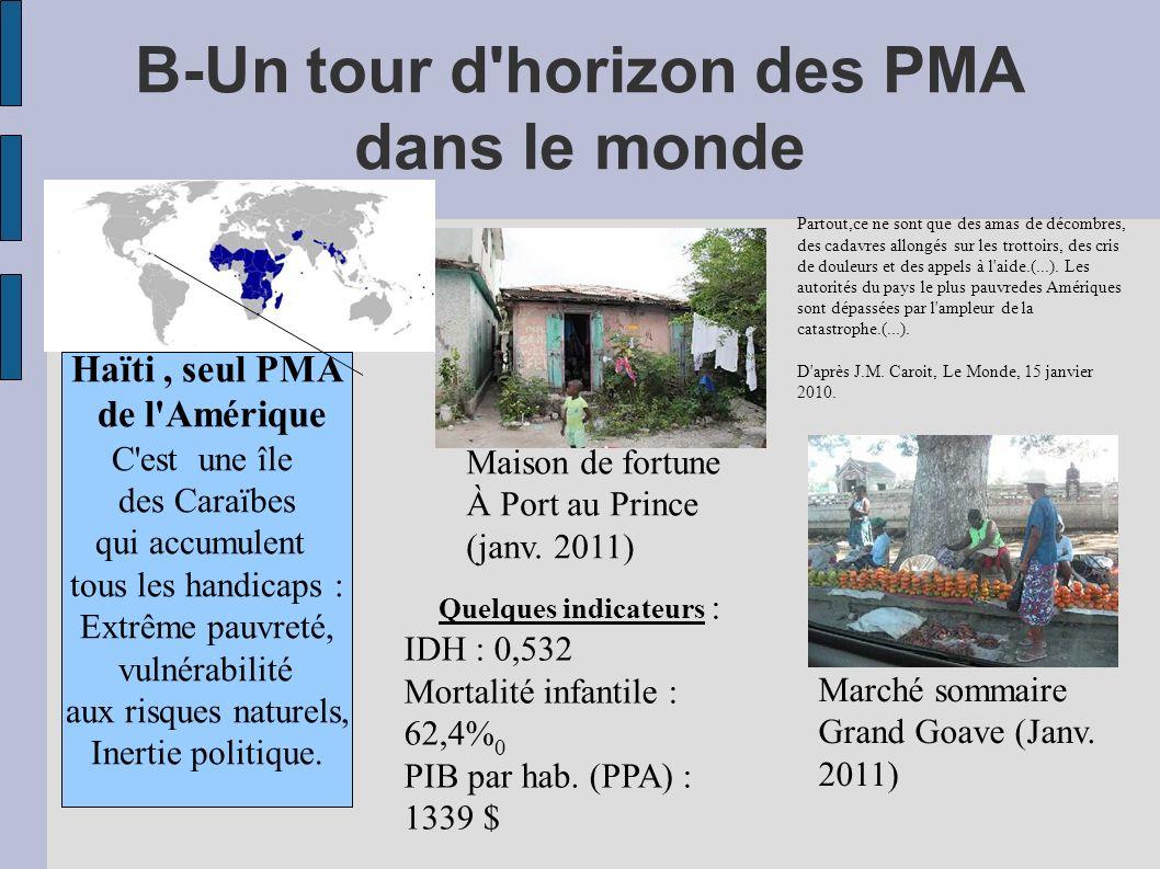 B-Un tour d horizon des PMA dans le monde Haïti, seul PMA de l Amérique C est une île des Caraïbes qui accumulent tous les handicaps : Extrême pauvreté, vulnérabilité aux risques naturels, Inertie politique.