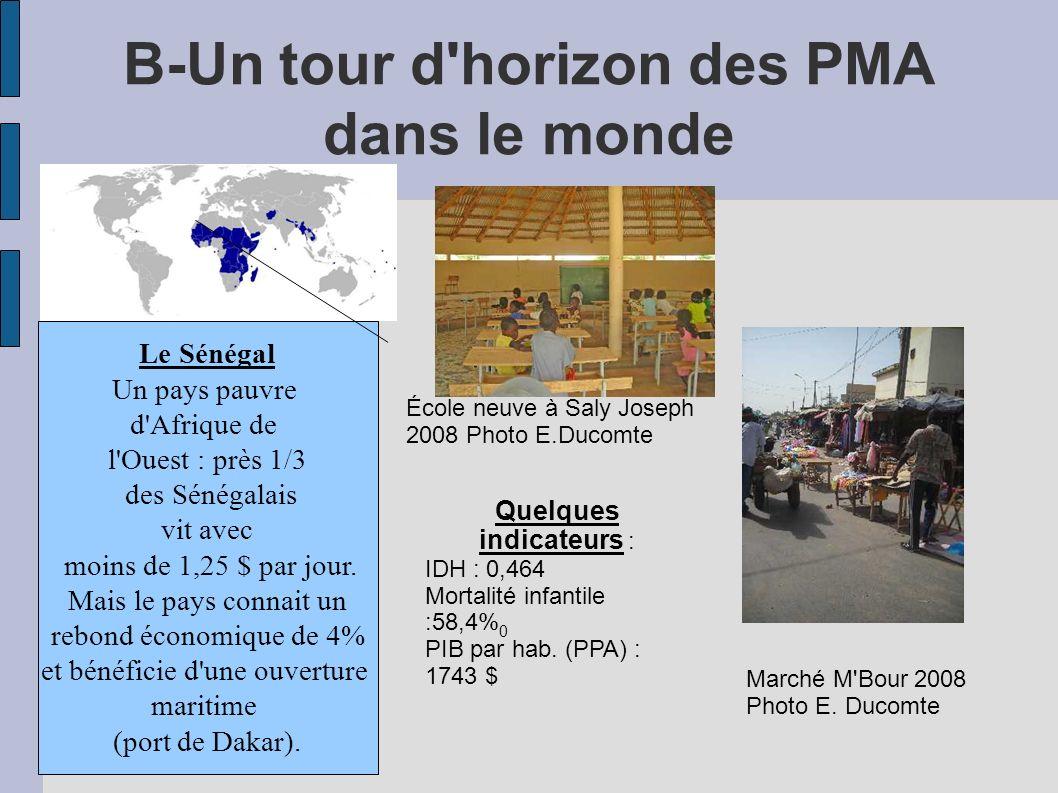 B-Un tour d horizon des PMA dans le monde Le Sénégal Un pays pauvre d Afrique de l Ouest : près 1/3 des Sénégalais vit avec moins de 1,25 $ par jour.