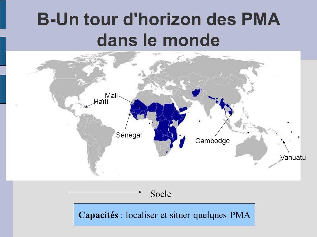 B-Un tour d horizon des PMA dans le monde Socle Capacités : localiser et situer quelques PMA Mali Sénégal Haïti Cambodge Vanuatu