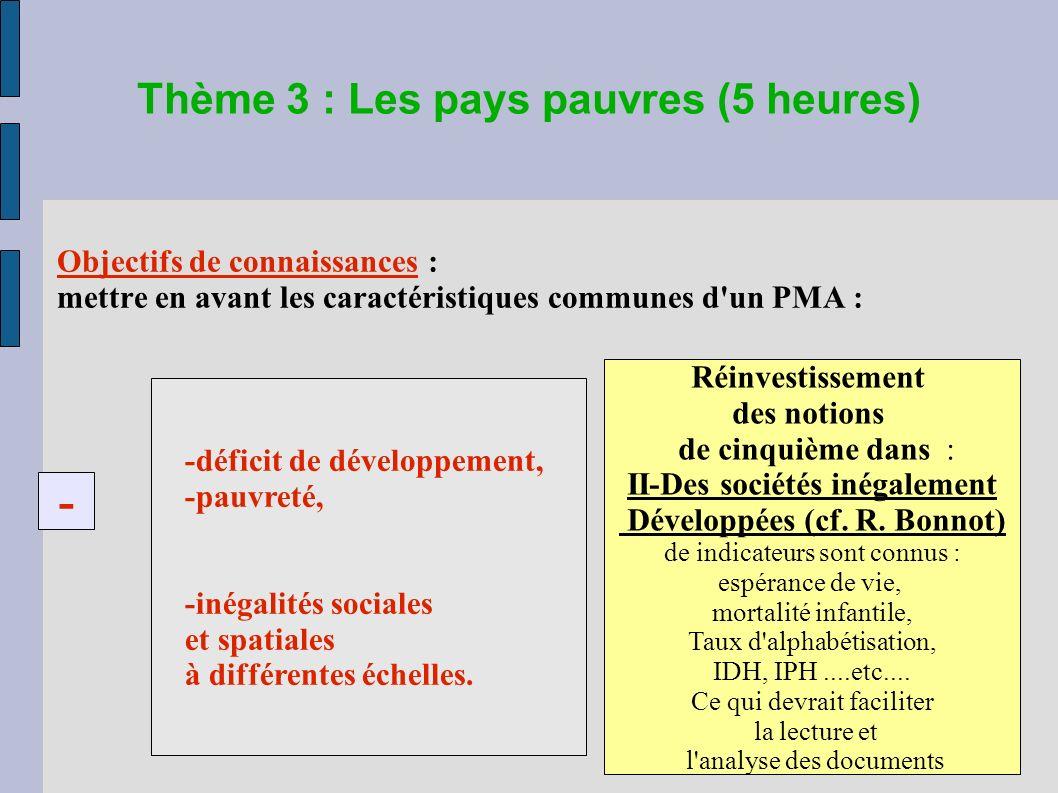 Thème 3 : Les pays pauvres (5 heures) Objectifs de connaissances : mettre en avant les caractéristiques communes d un PMA : -déficit de développement, -pauvreté, -inégalités sociales et spatiales à différentes échelles.
