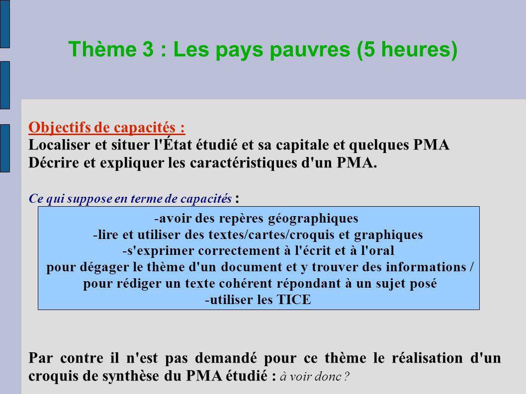 Thème 3 : Les pays pauvres (5 heures) Objectifs de capacités : Localiser et situer l État étudié et sa capitale et quelques PMA Décrire et expliquer les caractéristiques d un PMA.