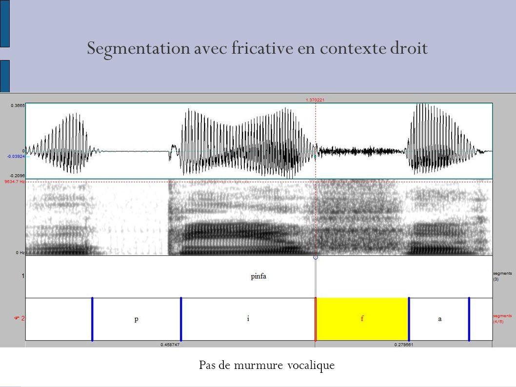 Segmentation avec fricative en contexte droit Pas de murmure vocalique