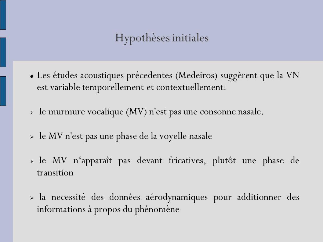 Hypothèses initiales Les études acoustiques précedentes (Medeiros) suggèrent que la VN est variable temporellement et contextuellement: le murmure vocalique (MV) n est pas une consonne nasale.