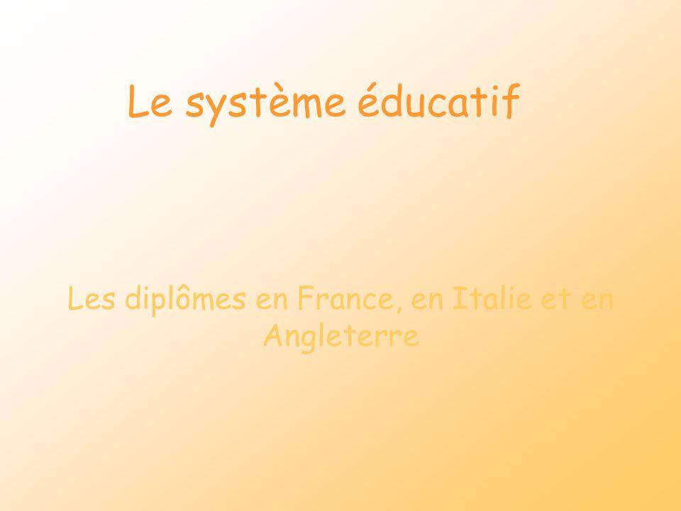 Le système éducatif Les diplômes en France, en Italie et en Angleterre