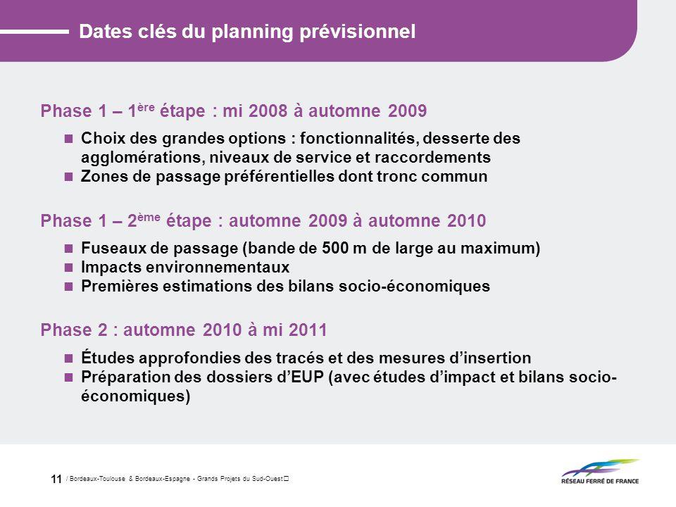 / Bordeaux-Toulouse & Bordeaux-Espagne - Grands Projets du Sud-Ouest 11 Dates clés du planning prévisionnel Phase 1 – 1 ère étape : mi 2008 à automne