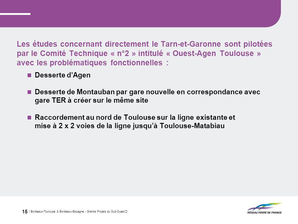 / Bordeaux-Toulouse & Bordeaux-Espagne - Grands Projets du Sud-Ouest 15 Les études concernant directement le Tarn-et-Garonne sont pilotées par le Comi