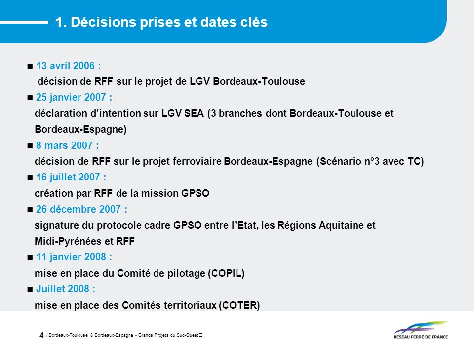 / Bordeaux-Toulouse & Bordeaux-Espagne - Grands Projets du Sud-Ouest 4 1. Décisions prises et dates clés 13 avril 2006 : décision de RFF sur le projet