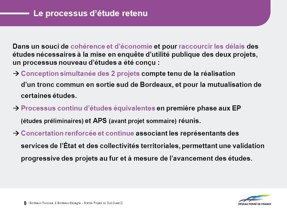 / Bordeaux-Toulouse & Bordeaux-Espagne - Grands Projets du Sud-Ouest 8 Le processus détude retenu Dans un souci de cohérence et déconomie et pour racc