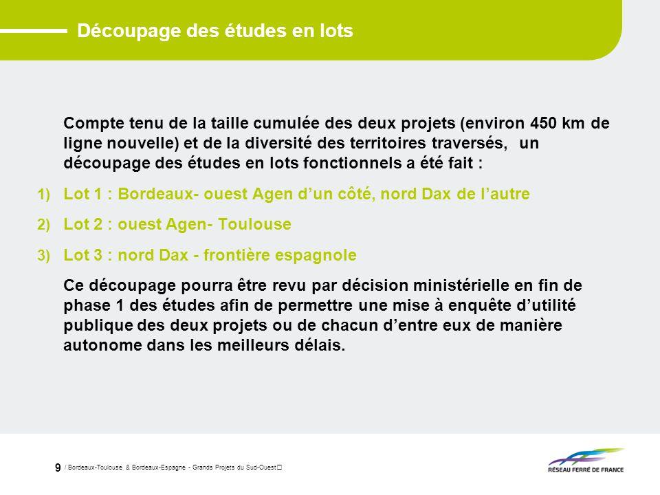 / Bordeaux-Toulouse & Bordeaux-Espagne - Grands Projets du Sud-Ouest 9 Découpage des études en lots Compte tenu de la taille cumulée des deux projets