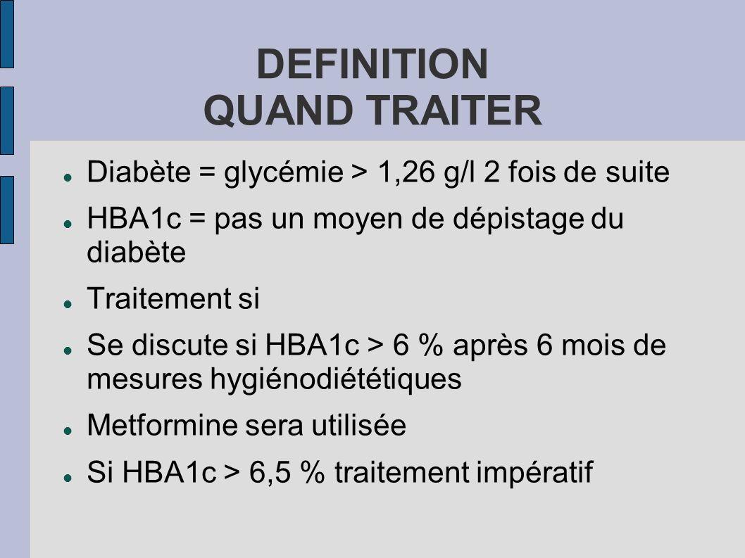 DEFINITION QUAND TRAITER Diabète = glycémie > 1,26 g/l 2 fois de suite HBA1c = pas un moyen de dépistage du diabète Traitement si Se discute si HBA1c
