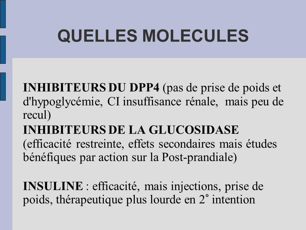 QUELLES MOLECULES INHIBITEURS DU DPP4 (pas de prise de poids et d'hypoglycémie, CI insuffisance rénale, mais peu de recul) INHIBITEURS DE LA GLUCOSIDA