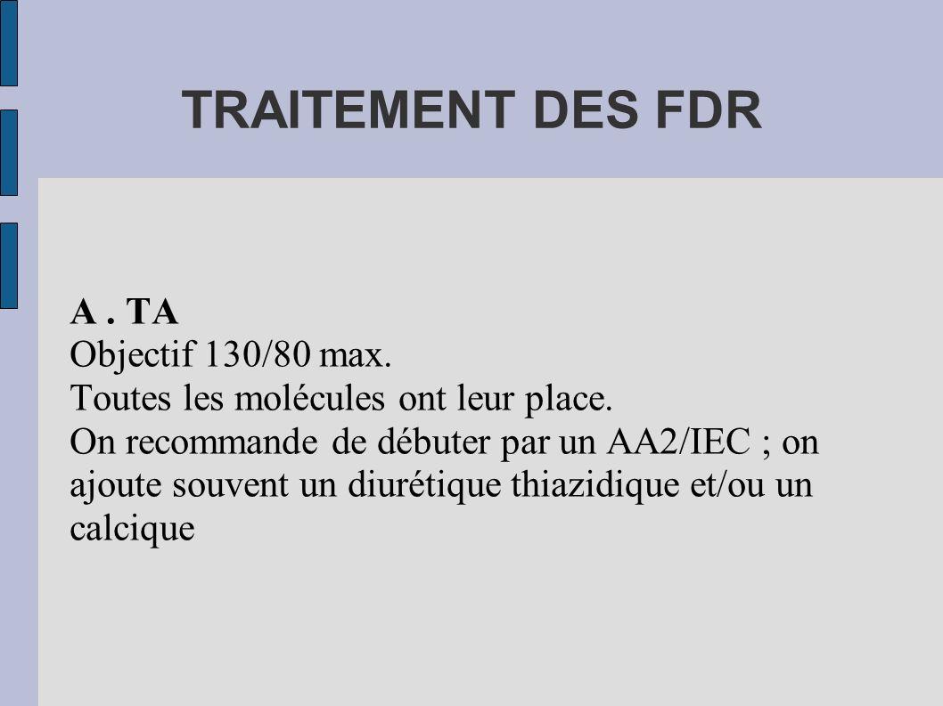 TRAITEMENT DES FDR A. TA Objectif 130/80 max. Toutes les molécules ont leur place. On recommande de débuter par un AA2/IEC ; on ajoute souvent un diur