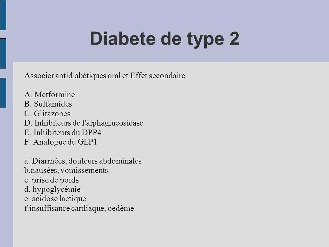 QUELLES MOLECULES INHIBITEURS DU DPP4 (pas de prise de poids et d hypoglycémie, CI insuffisance rénale, mais peu de recul) INHIBITEURS DE LA GLUCOSIDASE (efficacité restreinte, effets secondaires mais études bénéfiques par action sur la Post-prandiale) INSULINE : efficacité, mais injections, prise de poids, thérapeutique plus lourde en 2° intention