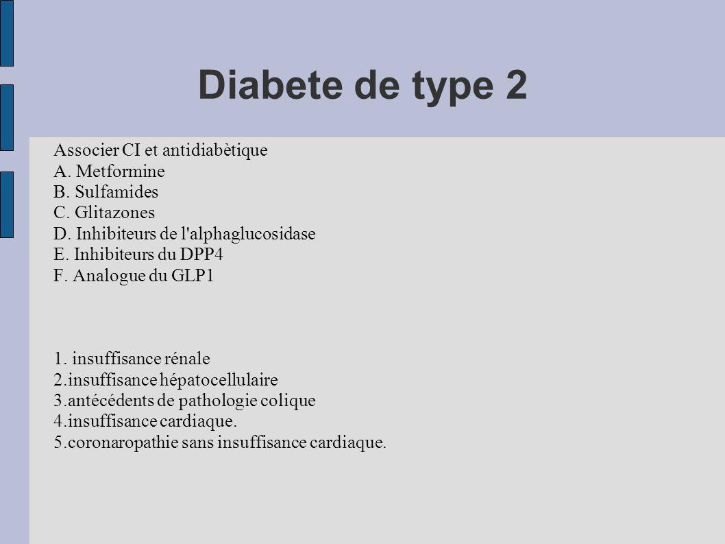 Diabete de type 2 Associer CI et antidiabètique A. Metformine B. Sulfamides C. Glitazones D. Inhibiteurs de l'alphaglucosidase E. Inhibiteurs du DPP4