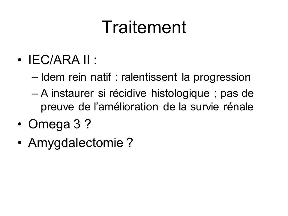 Traitement IEC/ARA II : –Idem rein natif : ralentissent la progression –A instaurer si récidive histologique ; pas de preuve de lamélioration de la su