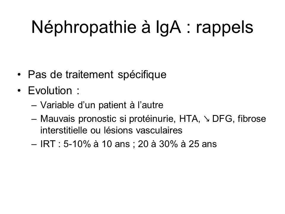 Néphropathie à IgA : rappels Pas de traitement spécifique Evolution : –Variable dun patient à lautre –Mauvais pronostic si protéinurie, HTA, DFG, fibr