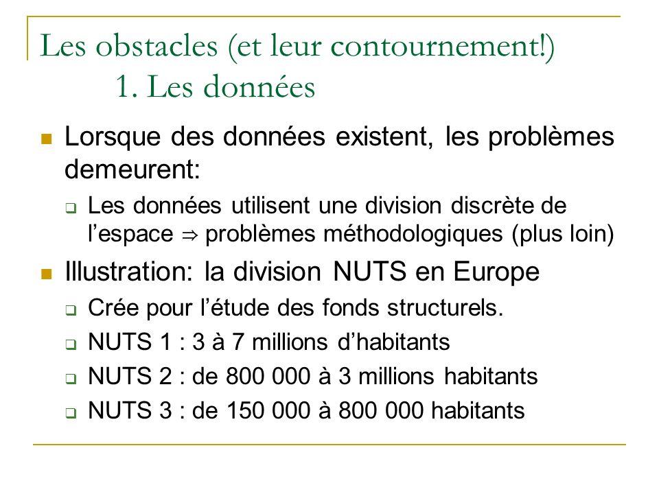 Les obstacles (et leur contournement!) 1. Les données Lorsque des données existent, les problèmes demeurent: Les données utilisent une division discrè