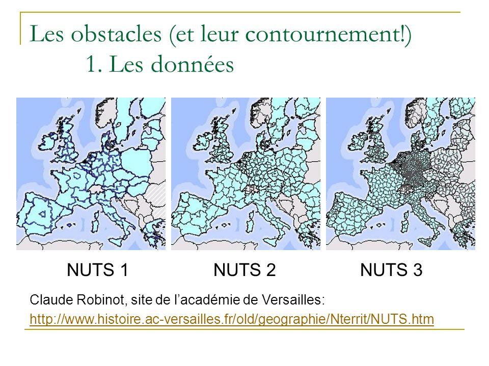 Les obstacles (et leur contournement!) 1. Les données NUTS 1NUTS 2NUTS 3 Claude Robinot, site de lacadémie de Versailles: http://www.histoire.ac-versa