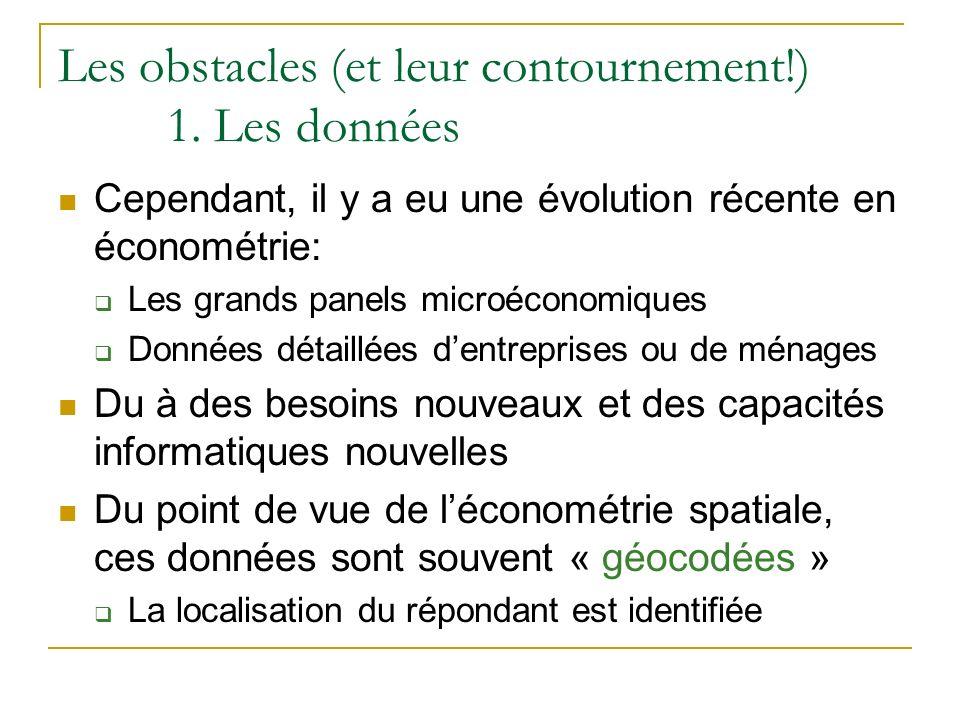 Les obstacles (et leur contournement!) 1. Les données Cependant, il y a eu une évolution récente en économétrie: Les grands panels microéconomiques Do