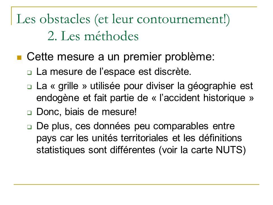Les obstacles (et leur contournement!) 2. Les méthodes Cette mesure a un premier problème: La mesure de lespace est discrète. La « grille » utilisée p