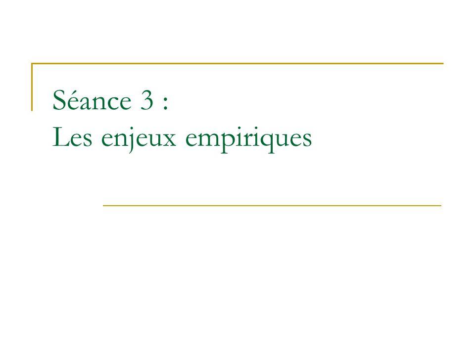 Séance 3 : Les enjeux empiriques